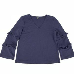 Ann Taylor Navy Blue Ruffle Sleeve Shirt